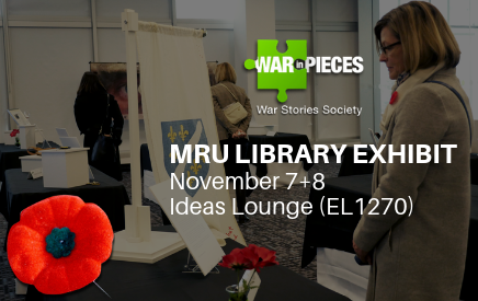 Poster promoting the War In Pieces exhibit in the Library from November 7-8