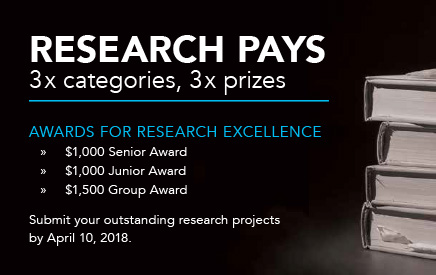 Research Pays - 3 x prizes, 3 x categories. Submission deadline April 10, 2018