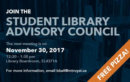Attend the next Student Library Advisory Council