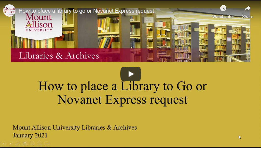 Video on how to place a Novanet Express request