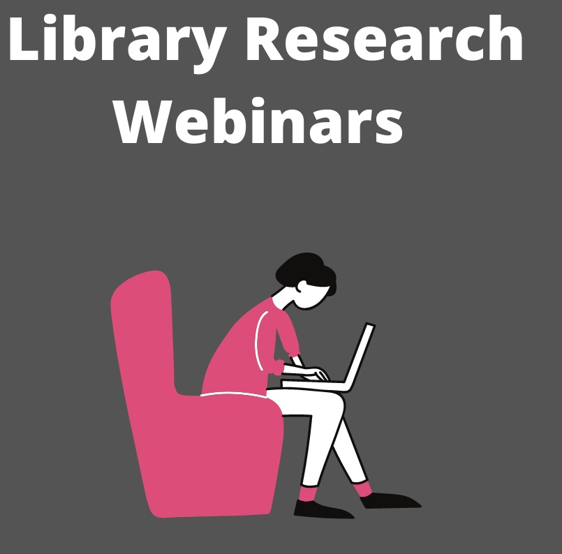 Library Research Webinar image of figure on chair with laptop