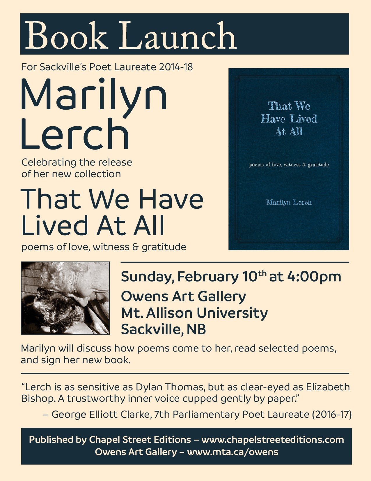 poster for book launch of Marilyn Lerch poems