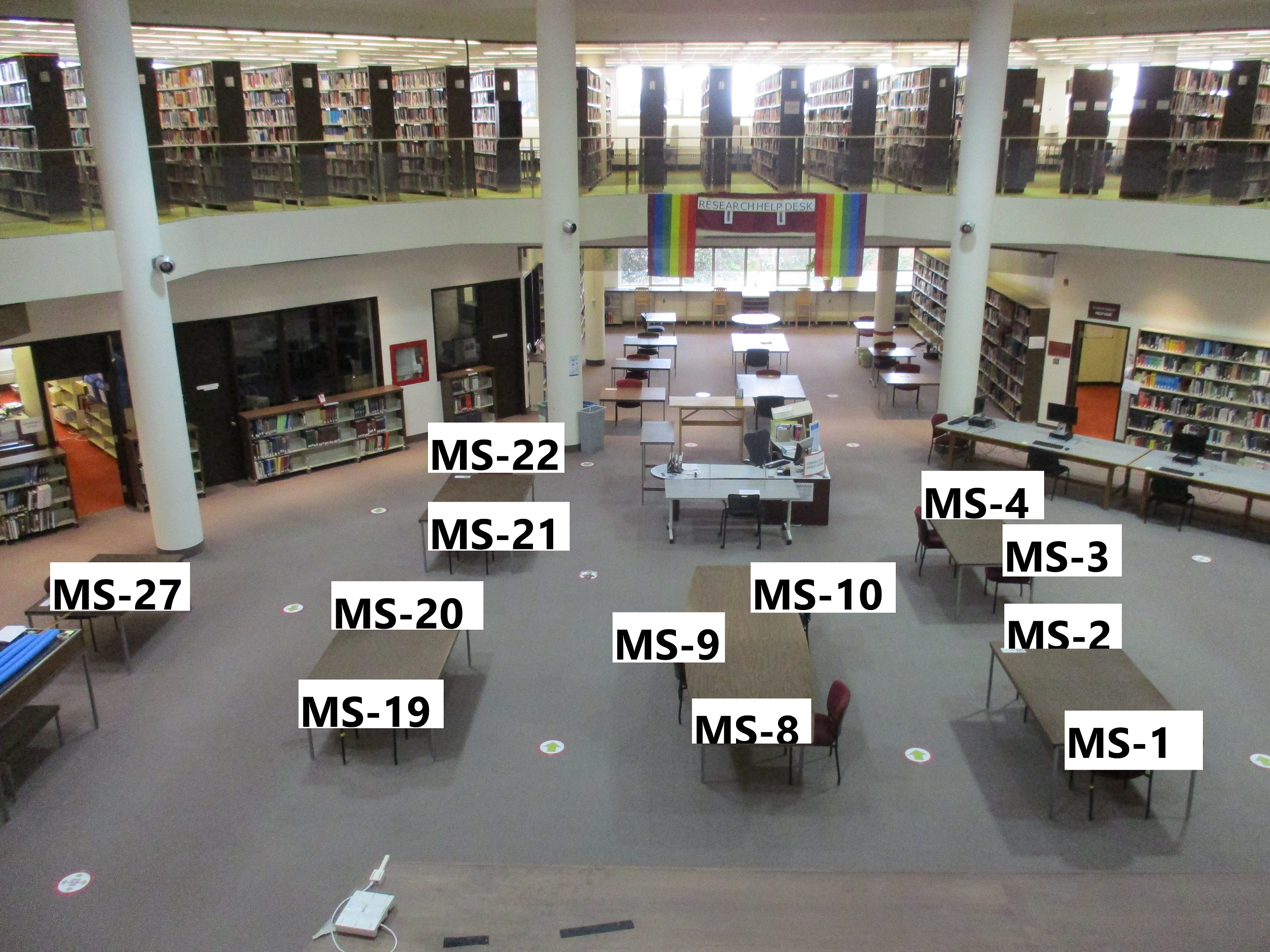 Photo of main area of first floor with numbered tables