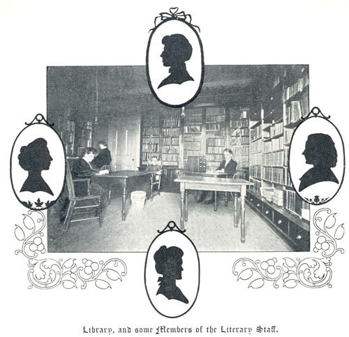 Inside view of the Ladies' College library.