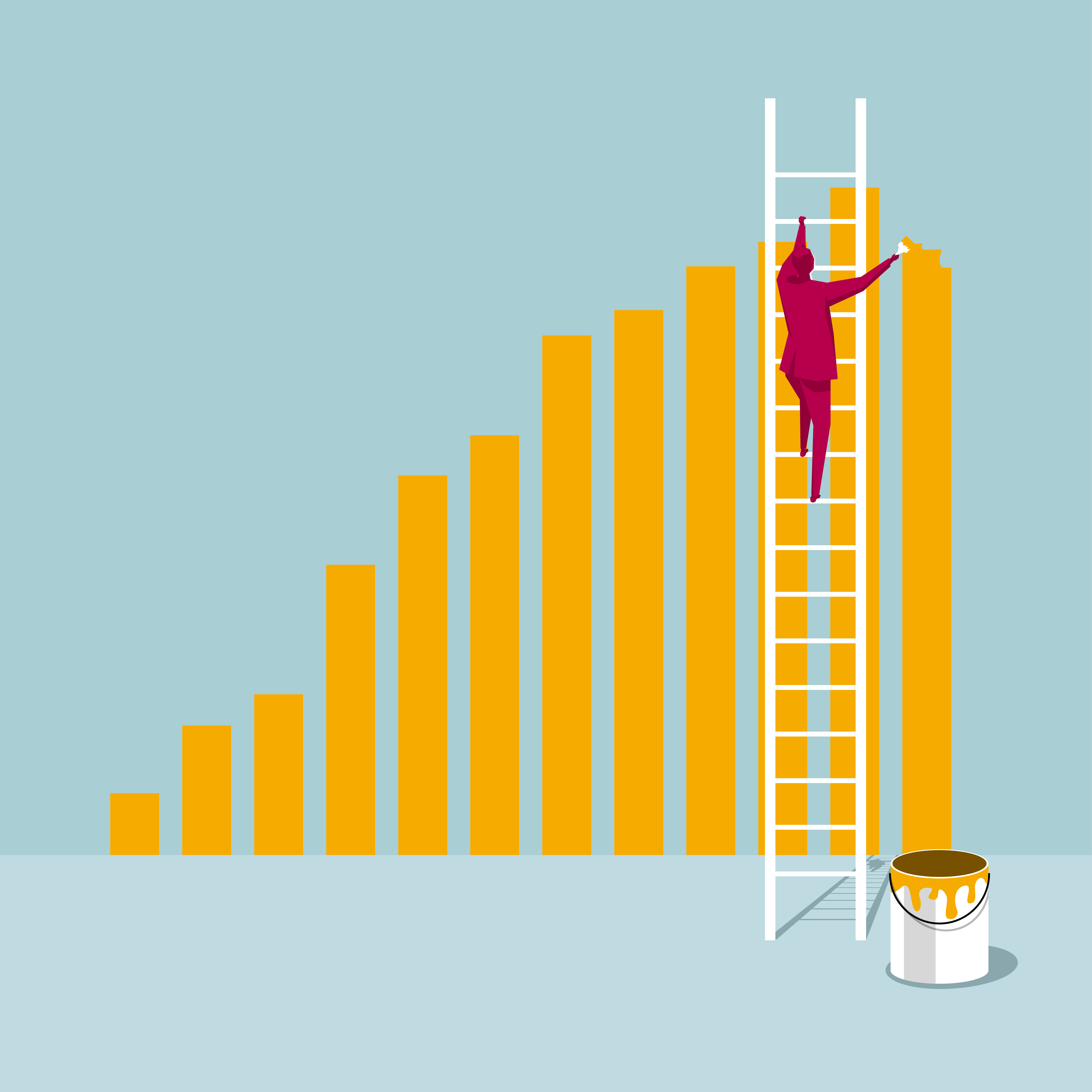 Human form on a ladder painting the bars of a chart