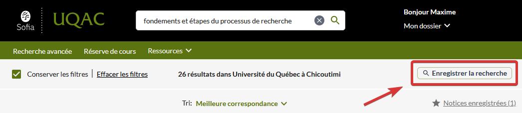 """Capture d'écran de l'emplacement du bouton """"Enregistrer la recherche"""""""
