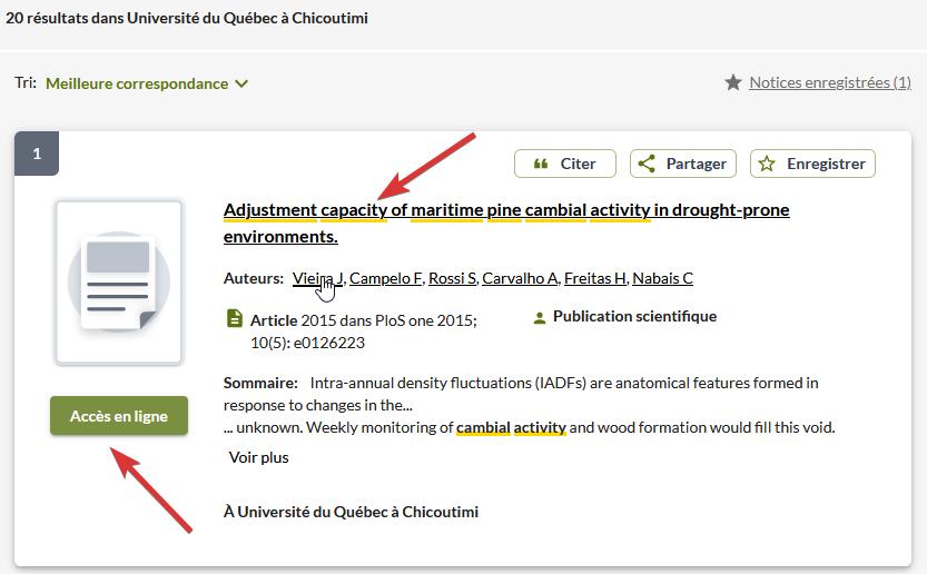 """Capture d'écran de la liste des résultats. Une flèche pointe vers le titre et une autre le bouton """"Access en ligne"""""""