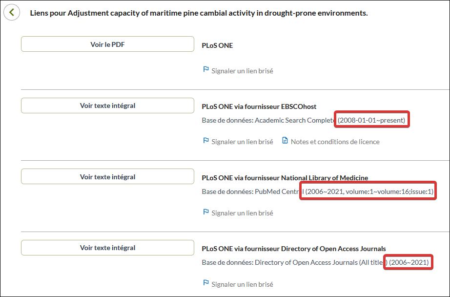 Capture d'écran de l'affichage des liens vers les différents fournisseurs.