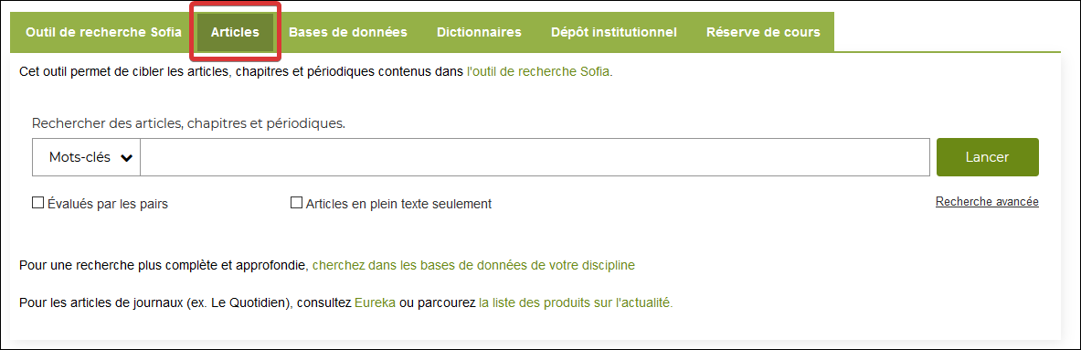 "Capture d'écran de l'onglet ""Articles"" de la page d'accueil de la bibliothèque"