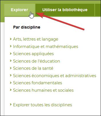 """Capture d'écran de la section """"Par discipline"""" du menu Explorer."""