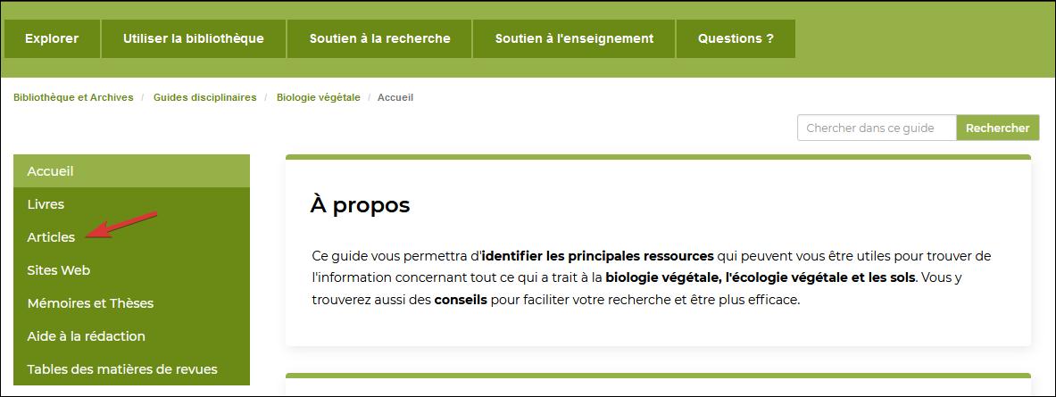 """Capture d'écran de la page d'accueil du guide """"Biologie végétale"""""""