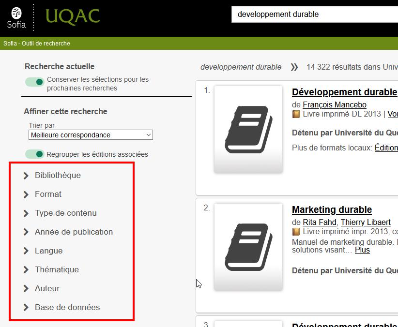 Représentation de la liste des facettes dans l'interface de l'outil de recherche Sofia