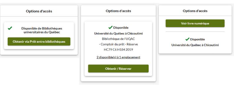 Capture d'écran montrant trois affichages différents : le bouton de réservation, le bouton d'accès au document numérique et le bouton pour le prêt entre bibliothèques.