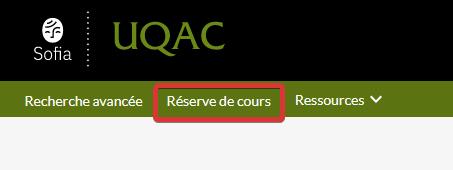 Capture d'écran de la barre de navigation de l'outil de recherche Sofia montrant l'emplace du menu «Réserve de cours»