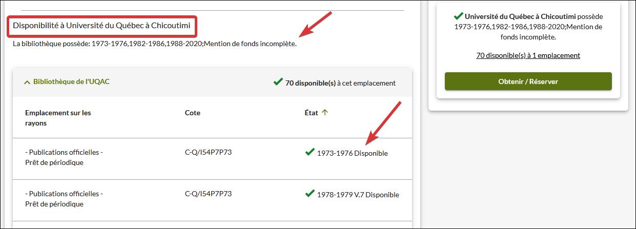 Capture d'écran de la notice détaillée montrant la mention de fonds