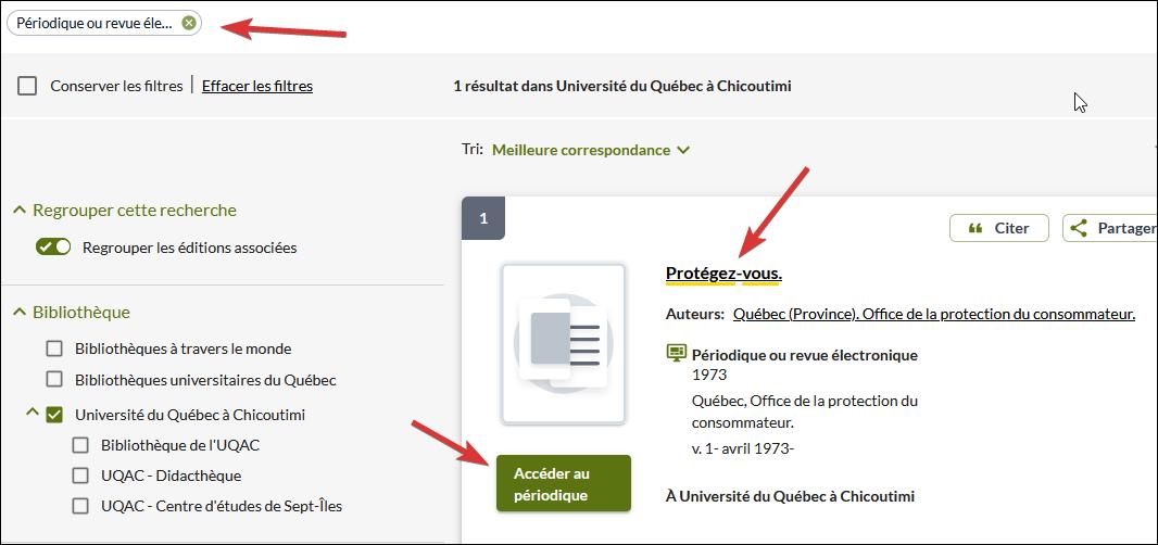 Capture d'écran de la liste de résultats.