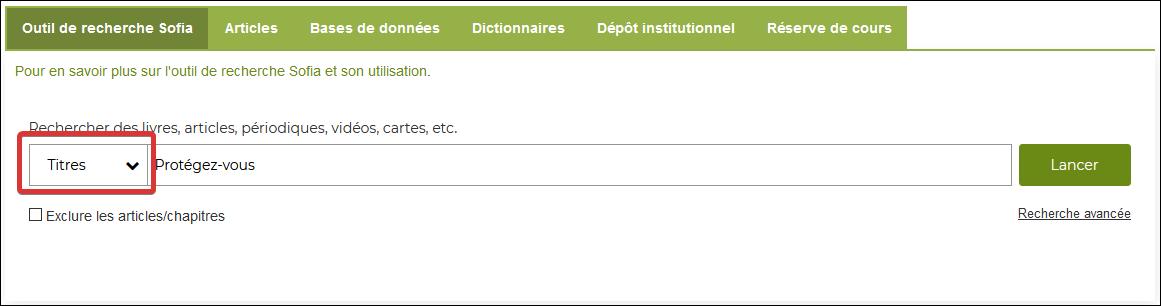 Capture d'écran de la boite de recherche sur le site de la bibliothèque.