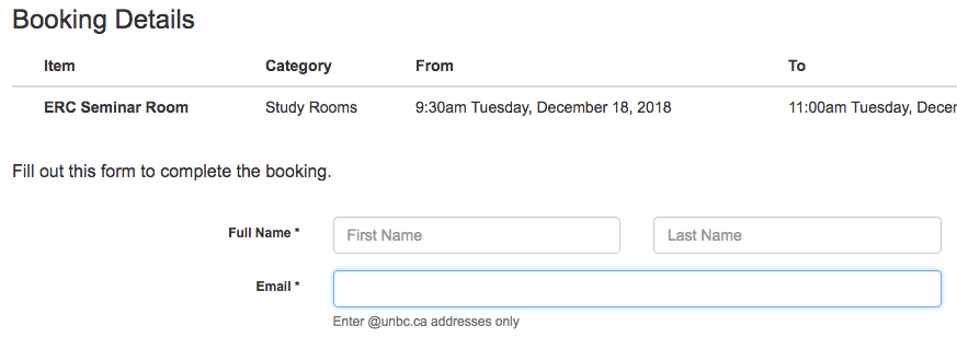 Study room booking form details