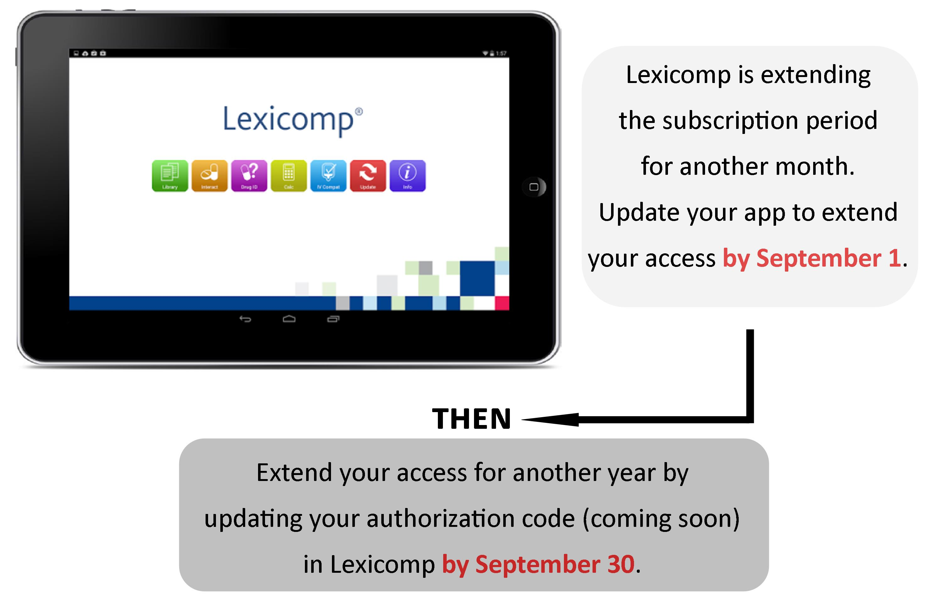 Extend your Lexicomp subscription period by September 1