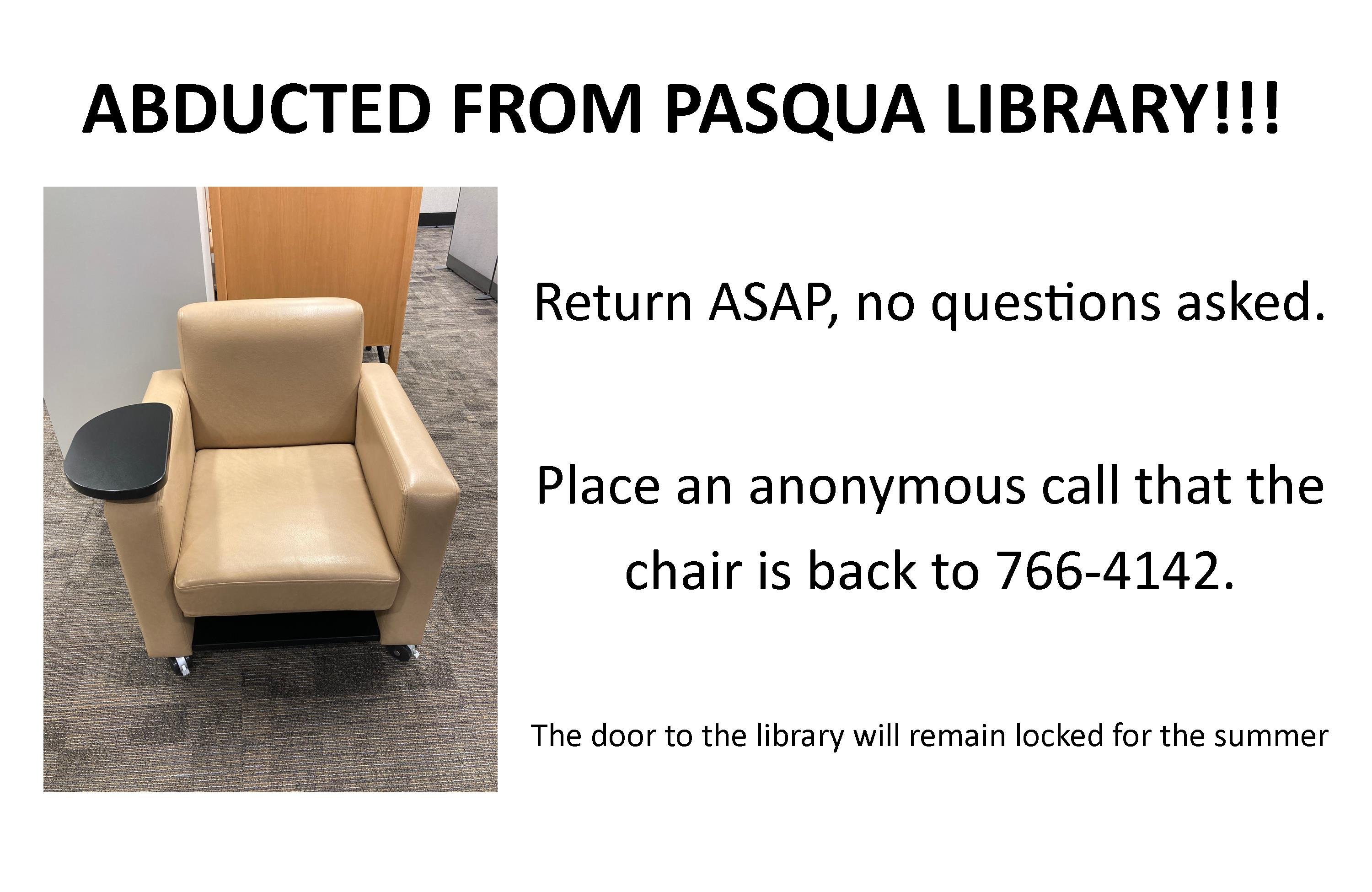 Missing Chair from Pasqua Library