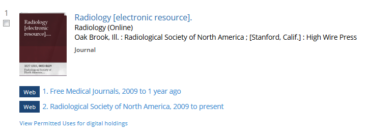 Catalog record for the journal Radiology, indicating it is an electronic resource and listing web holdings URLs below the title