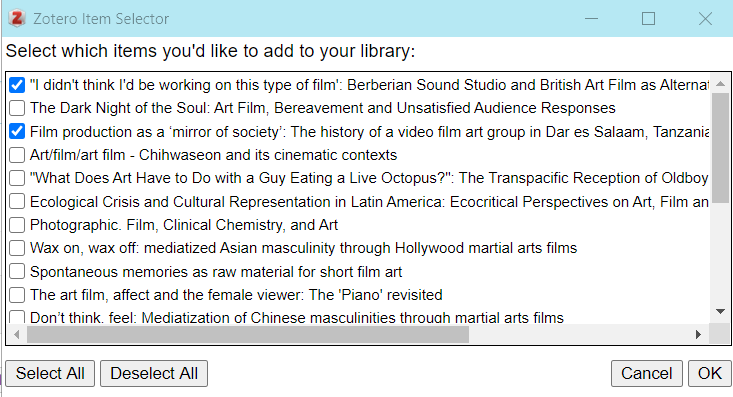 Screenshot of the Zotero Item Selector window. The Item Selector window contains a selectable checklist of item titles.