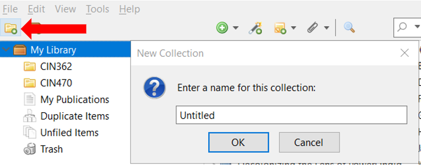 Screenshot of the desktop Zotero window with an arrow identifying the New Collection button, a yellow folder with a green plus sign in the bottom corner. The New Collection pop-up window contains a field to enter a title for the Collection.