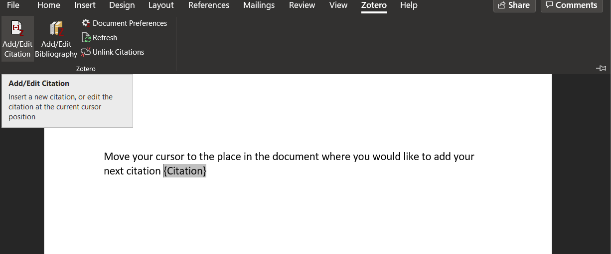 Screenshot of the Zotero ribbon in Microsoft Word. The Add/Edit Citation button is highlighted.