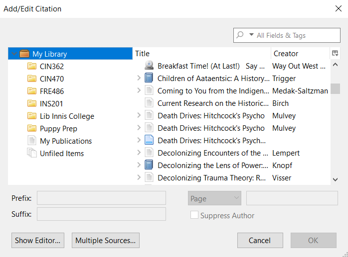 Zotero Add/Edit Citation Classic View window. Above the OK button in the right bottom corner, there is a field to enter Page number(s).