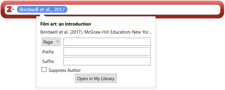 Zotero Search Bar with the Cite Options window opened below the blue citation bubble.