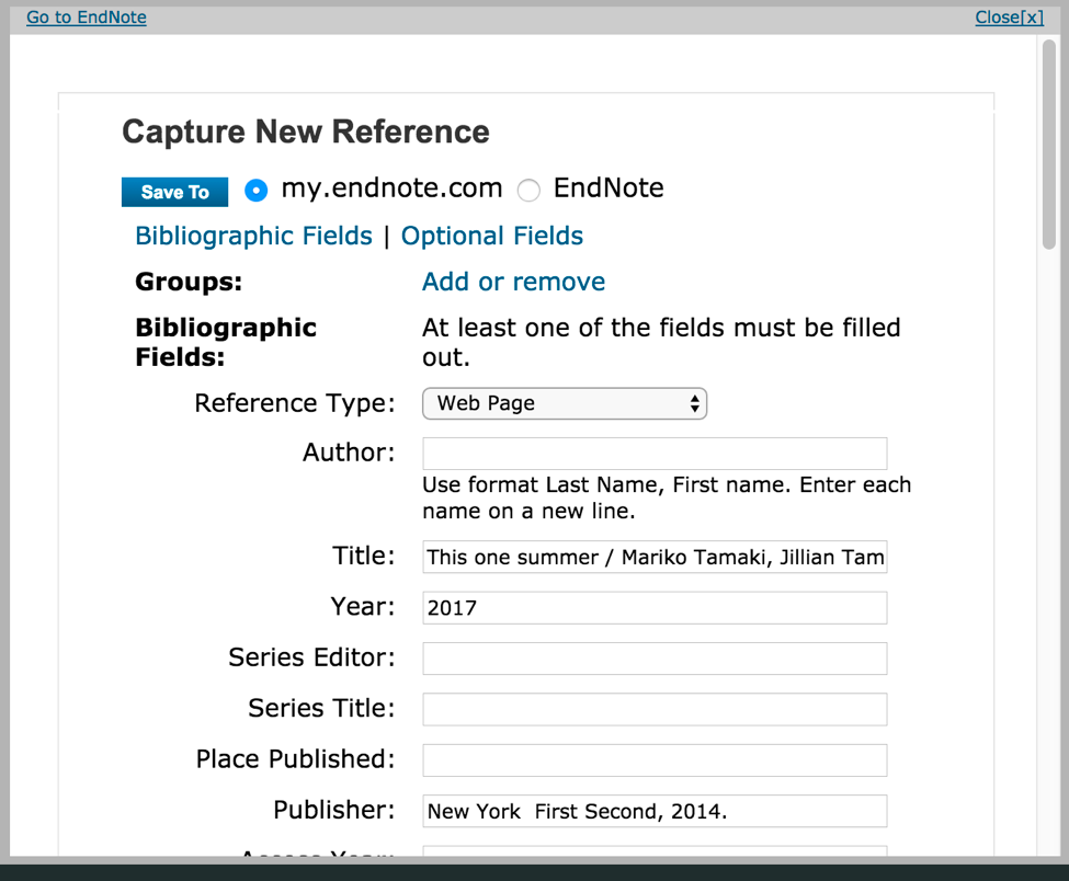 EndNote Capture Add-on in action