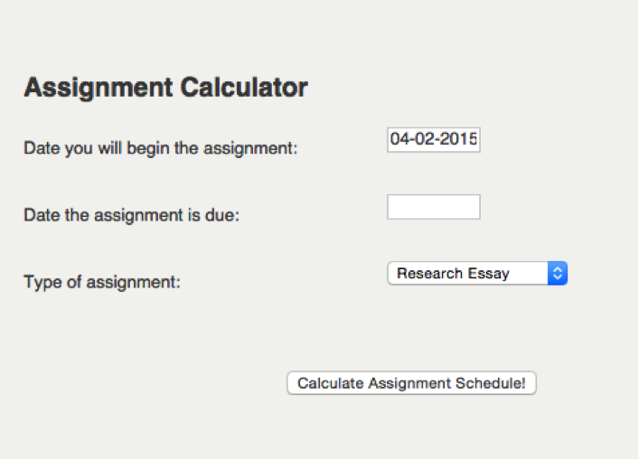 Picture of the Assignment Calculator