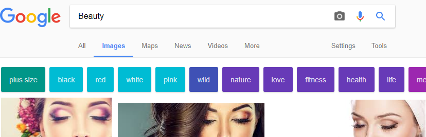 google image search for the term beauty