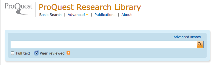 Screenshot of the Proquest search interface highlighting the peer-reviewed check button