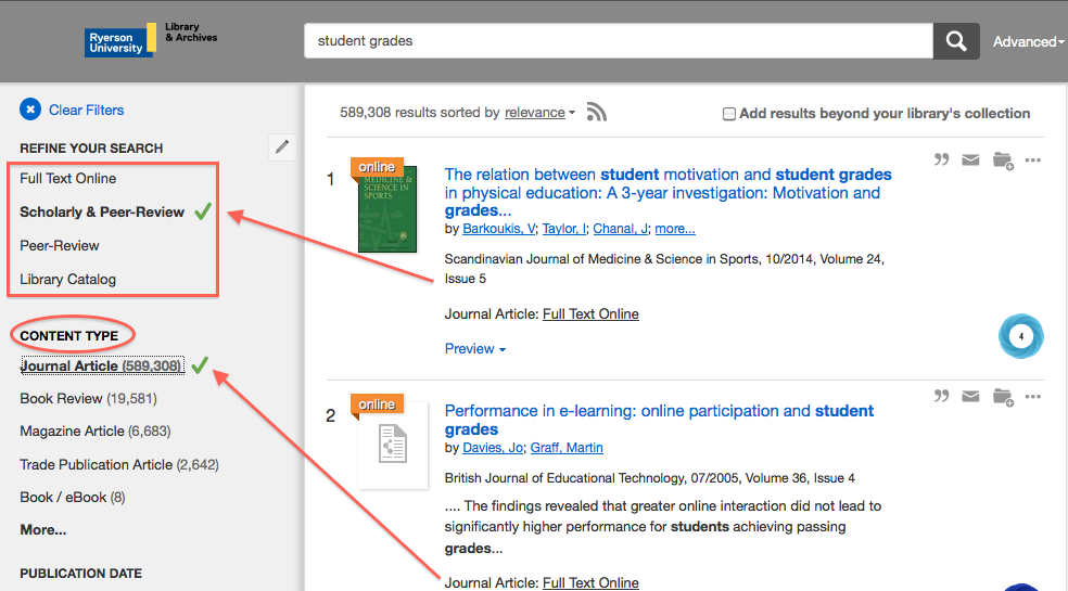 Peer Reviewed button on Search Everything (on the left side)