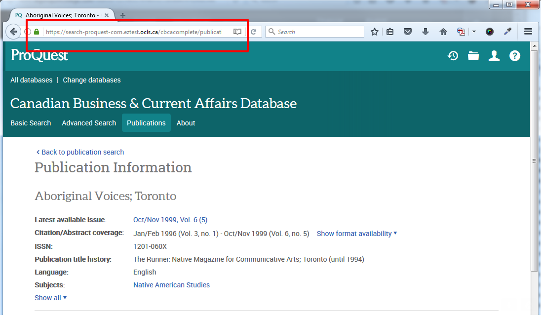 the address bar shows the permalink for a journal in ProQuest