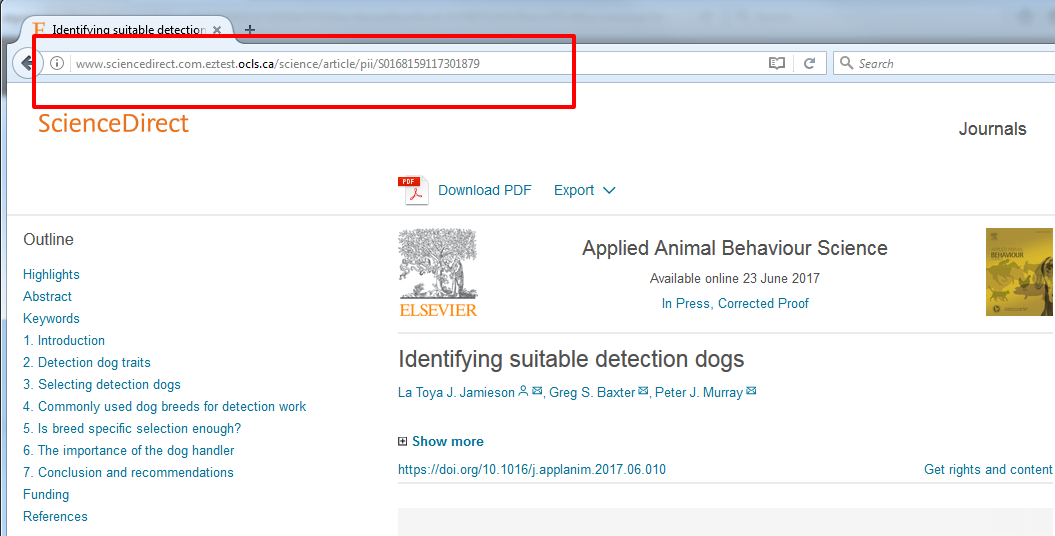 The address bar shows the permalink to a result in ScienceDirect.