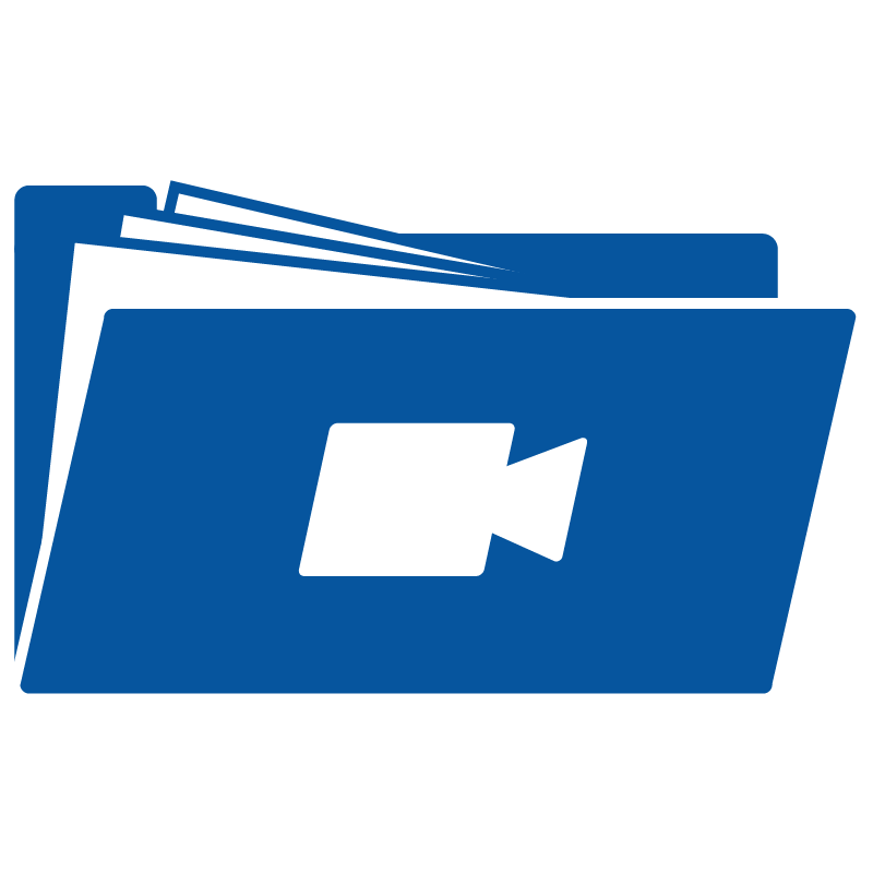 Folder icon with an image of a video icon on the side