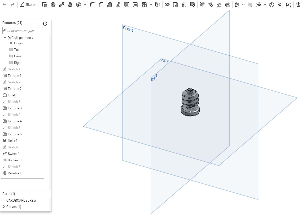 An example of a screw modelled in 3D design software