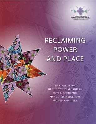 Cover of the Final Report of the Inquiry into Missing and Murdered Indigenous Women and Girls (Canada)