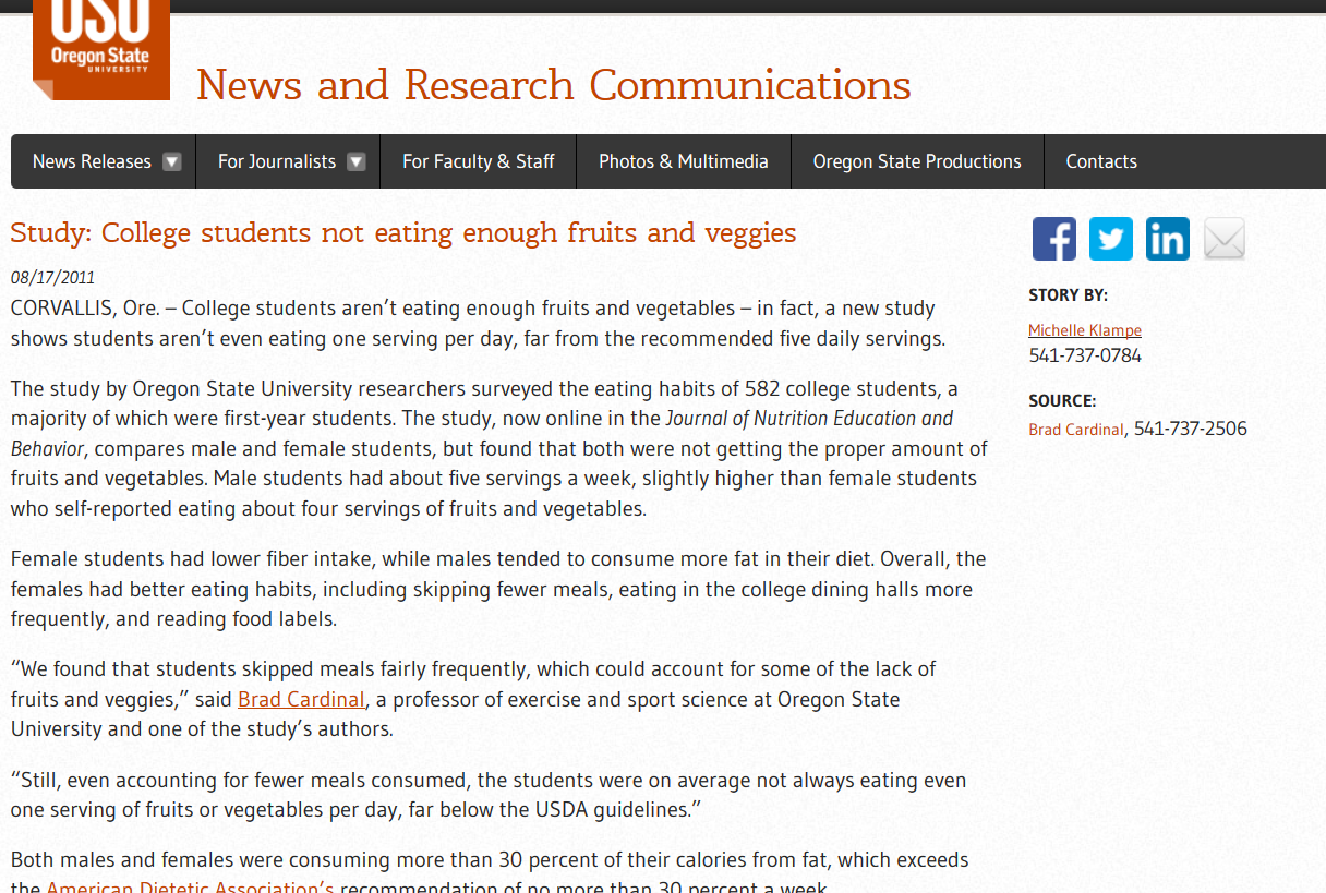 Screenshot of article from OSU News & Research Communications, demonstrating a webpage that has no page numbers or section headings.