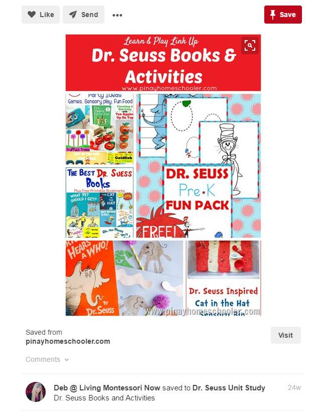 Screenshot of a Pinterest post about Dr. Seuss books & activities
