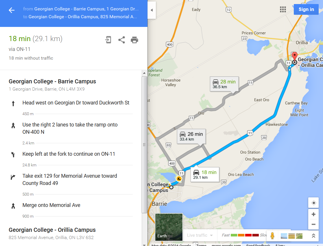 Screenshot example of Google Maps / Directions between Barrie & Orillia campus of Georgian College