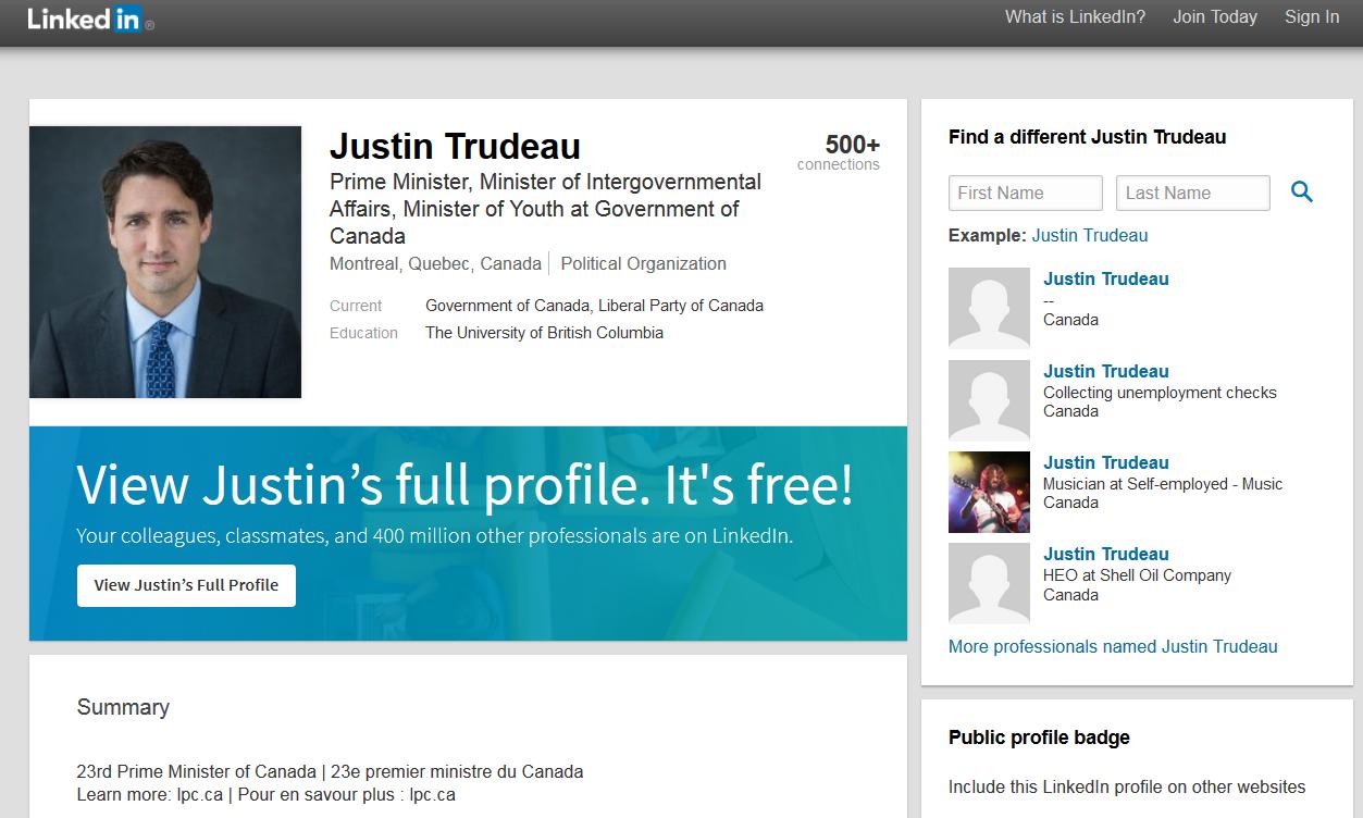 Screenshot of Justin Trudea's public LinkedIn profile