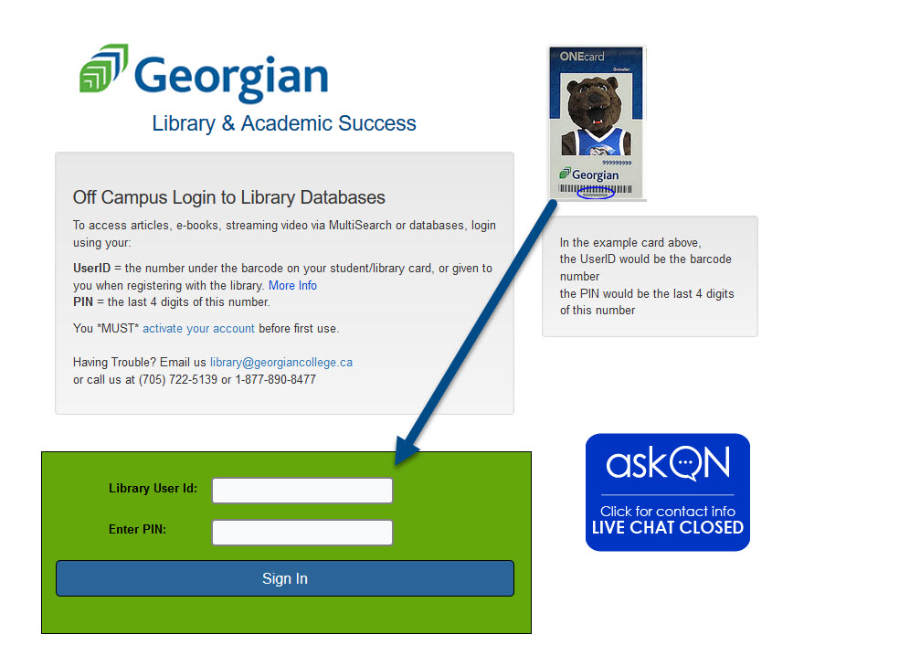 Screenshot of off campus login to library databases