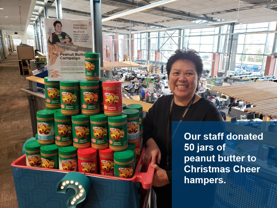 Our staff donated 50 jars of peanut butter to Christmas Cheer hampers.
