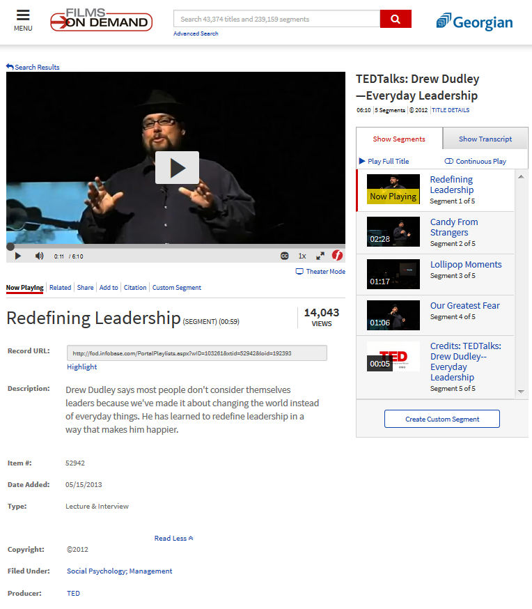 Screenshot of a TEDTalk as it might appear in the Library's Films on Demand database