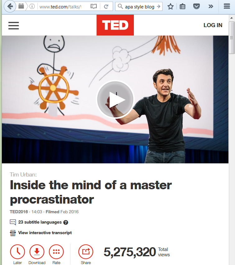 Screenshot of the TEDTalk: Tim Urban: Inside the mind of a master procrastinator - from the TEDTalk website