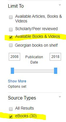 To limit to ebooks, select the checkbox for Available Books and Videos, and select the checkbox for eBooks