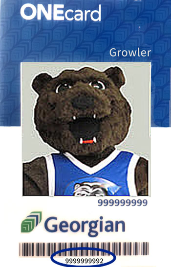 sample Georgian student card where UserID is the number beneath the barcode.